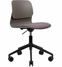 Chaise de bureau design taupe pivotante sur