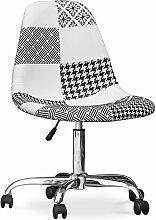 Chaise de bureau Deswick blanche et noire -