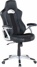 Chaise de bureau en simili-cuir noir ADVENTURE