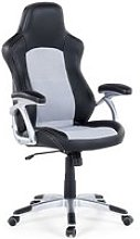 Chaise de bureau en simili-cuir noir et gris