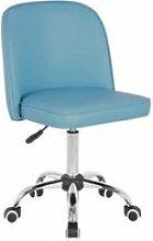 Chaise de bureau enfant design en pu bleu clair