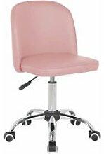 Chaise de bureau enfant design en pu rose clair