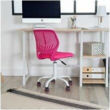 Chaise de bureau enfant réglable roulettes rose