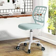 Chaise de bureau enfant tissu bleu clair