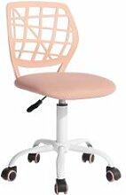 Chaise de bureau enfant tissu rose