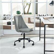 Chaise de bureau grise tissu métal