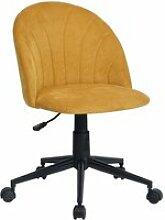 Chaise de bureau jaune tissu métal