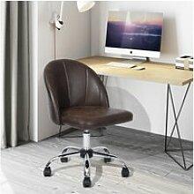 Chaise de bureau marron vintage tissu metal