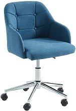 Chaise de bureau MISSOURI - Tissu - Bleu - Hauteur