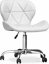 Chaise de bureau rembourrée PU - Wito Blanc