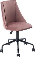 Chaise de bureau rose velours métal