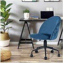 Chaise de bureau roulette bleu réglable en hauteur