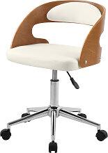 Chaise de bureau sur roulettes en bois et PU blanc