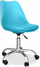 Chaise de bureau Tulip pivotante à roulettes Bleu