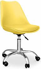 Chaise de bureau Tulip pivotante à roulettes Jaune