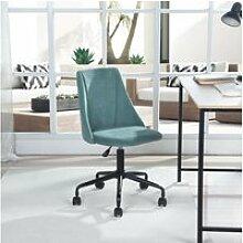 Chaise de bureau verte tissu métal