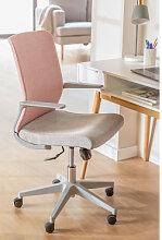 Chaise de bureau Yener avec roues Rose - Gris Sklum