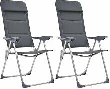 Chaise de camping 2 pcs Gris 58x69x111 cm Aluminium