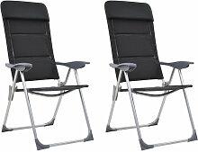 Chaise de camping 2 pcs Noir 58x69x111 cm Aluminium