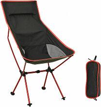 Chaise de camping pliable PVC et aluminium Noir