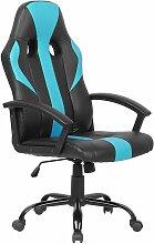 Chaise de gamer en simili-cuir noir et bleu SUCCESS