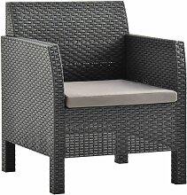 Chaise de jardin avec coussin PP Anthracite