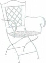 Chaise de jardin en fer forgé blanc avec