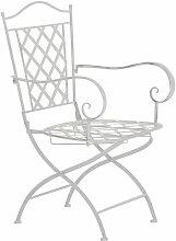 Chaise de jardin en fer forgé blanc vieilli avec