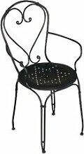 Chaise de jardin en fer forgé noir - Dim : H 89 x