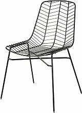 Chaise de jardin en métal ajouré noir mat