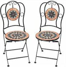 Chaise de jardin en mosaïque TERRACOTTA Set de 2