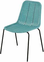 Chaise de jardin en résine bleu turquoise et