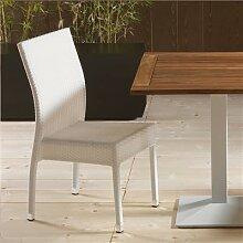 Chaise de jardin en résine tressée blanche