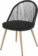 Chaise de jardin en résine tressée noire et