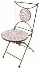 Chaise de jardin fer forgé et céramique