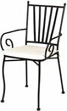 chaise de jardin - Fer noir avec accoudoirs -