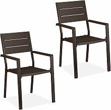 Chaise de jardin jeu de 2, effet bois, résistant