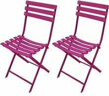Chaise de jardin mérida framboise (lot de 2)