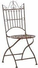 Chaise de jardin pliable en métal marron vieilli