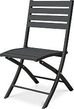 Chaise de jardin pliante en aluminium gris
