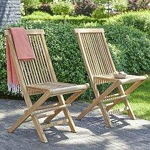 Chaise de jardin pliante en teck (lot de 2) -