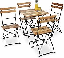 Chaise de jardin pliante lot de 4 en bois nature