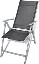 Chaise de jardin pliante tissu noir et métal