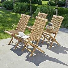 Chaise de jardin pliantes en teck huilé (lot de