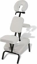 Chaise de Massage Pliante et Portable Blanc