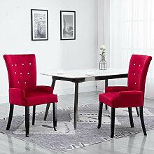 Chaise de salle a manger avec accoudoirs Rouge