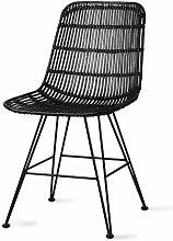 Chaise de salle à manger Marey en rotin noir