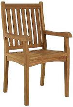 Chaise de salon de jardin avec accoudoirs en teck