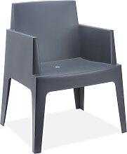 Chaise design 'PLEMO' gris foncé en