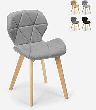 Chaise design nordique pieds bois tissu cuisine